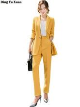 Female Business Interview Yellow Pant Suits for Women Formal Wear Career Trouser Suit Ladies Korean Office 2 Pieces Set Pantsuit