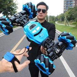 Carro rc 4wd controle de rádio dublê carro gesto indução torção fora de estrada veículo luz música deriva brinquedo de alta velocidade escalada rc carro