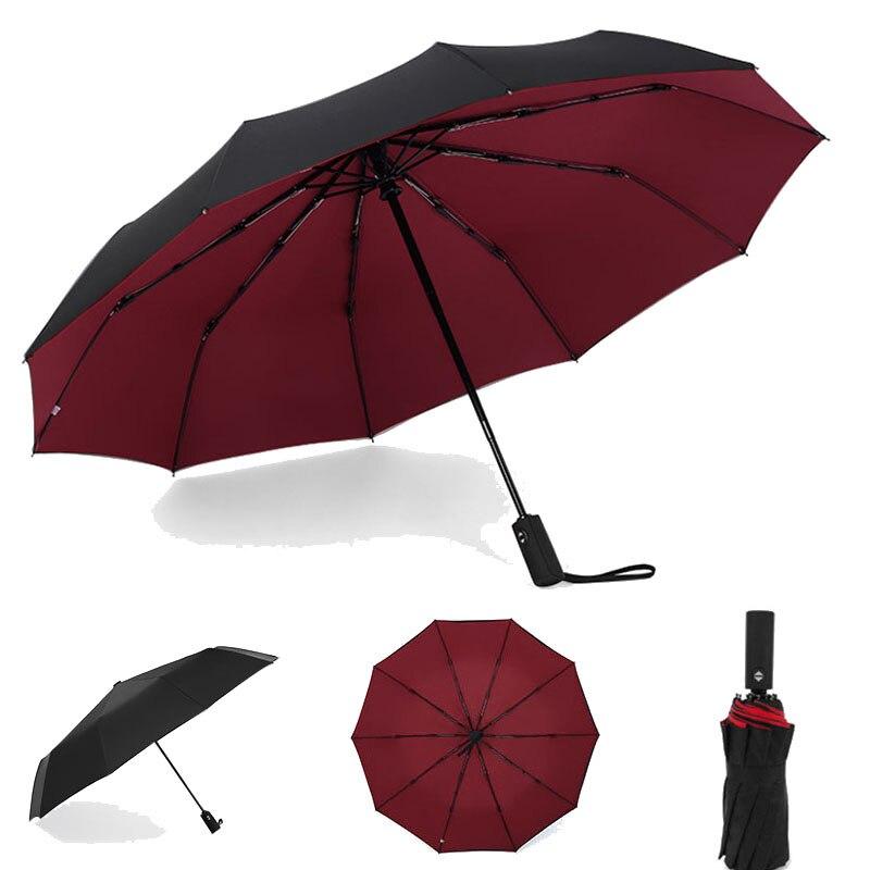 10K Dupla camada À Prova de Vento guarda-Chuvas Totalmente automáticas Mulheres Masculinos Três de Dobramento Comercial Grande Quadro Durável Parasol
