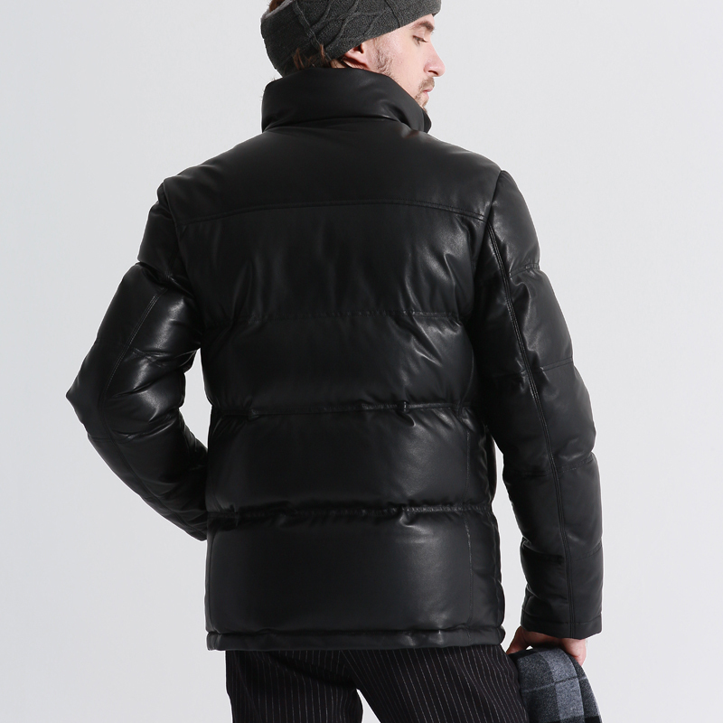 Geniune Leather Jacket Men Sheepskin Leather Goose Down Coat Quality Winter Warm Thick Plus Size Outwear12-H05# MF381