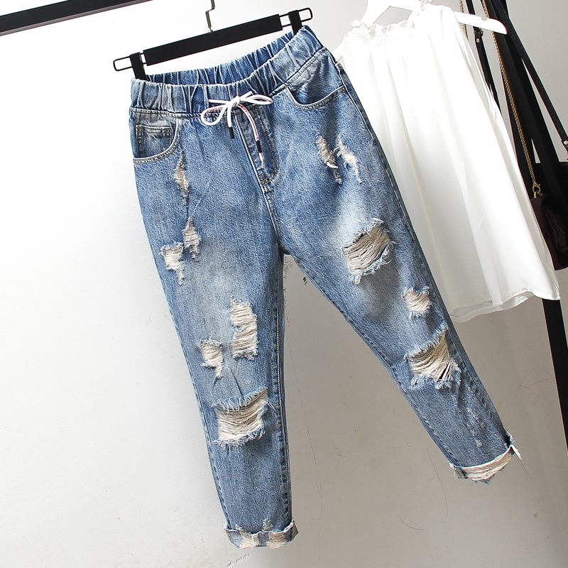 Summer Plus Size Elastic Waist Ripped Hole 9/10 Length Capri Denim Pants Jeans for Women L XL 2XL 3XL 4XL