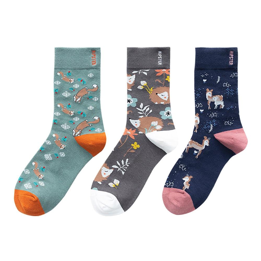 Autumn Winter Socks Cartoon Animals Print Vintage Socks Women Unisex Cotton Middle Tube Creative Personality Couple Socks