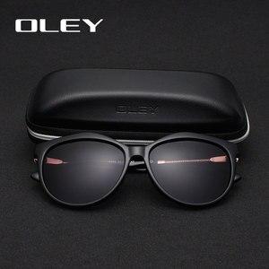 Image 4 - OLEY العلامة التجارية جولة النظارات الشمسية النساء الاستقطاب أزياء السيدات نظارات شمسية الإناث خمر ظلال Oculos دي سول Feminino UV400 Y7405
