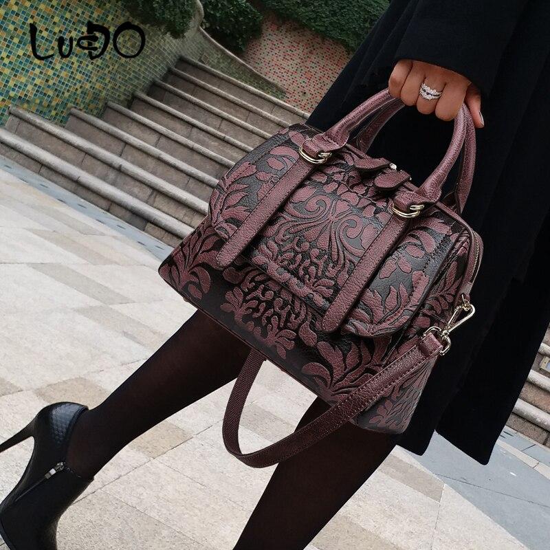 LUCDO brand Vintage flower printing Luxury Handbag large capacity shoulder messenger crossbody bag for women 2020 bolsos mujer