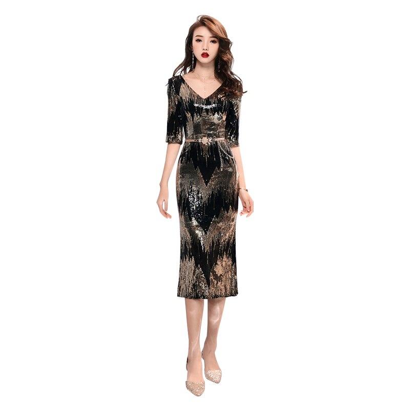Evening     Dress   Half-sleeve Crystal Robe De Soiree Zipper Women Party   Dresses   2019 Long Plus Size V-neck Sequin Formal Gowns F007