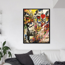 Girl Holding A Balloon Wall Graffiti Art Prints Modern Street Art Canvas Paintings On The Wall Pictures Kids Room Decor No Frame bartlett frederick orin the wall street girl
