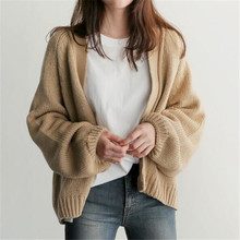 Titotato 2019 Autumn Fan Lazy Sweater Women Student Casual Solid Color V-Neck Concise Short Knitting Cardigan Woman One Size Top