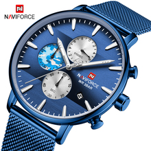NAVIFORCE Top Brand Luxury Men Watches Ultra Thin Date Chronograph Wrist Watch Male Mesh Strap Casual Quartz Clock reloj hombre цена и фото