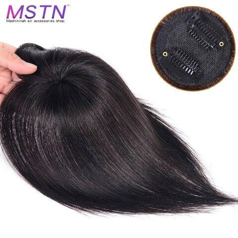 Cabelo de Seda Feito à Mão Hairpiece com Estrondo Mstn Reta Proteína Sintética Parte Superior Encerramento Peruca Cabelo Natural Preto Topper