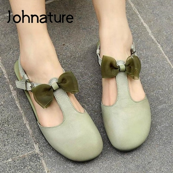 Johnature Genuine Leather Summer 2020 New Women Shoes Retro Sandals Buckle Strap Casual Butterfly-knot Flat With Ladies Sandals