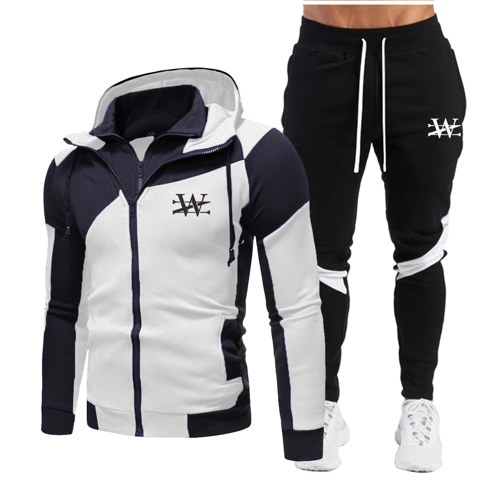 Fashion New brand Men's Set Fleece Hoodie Pant Thick Warm Tracksuit Sportswear Hooded Track Suits Male Sweatsuit Tracksuit M-3XL