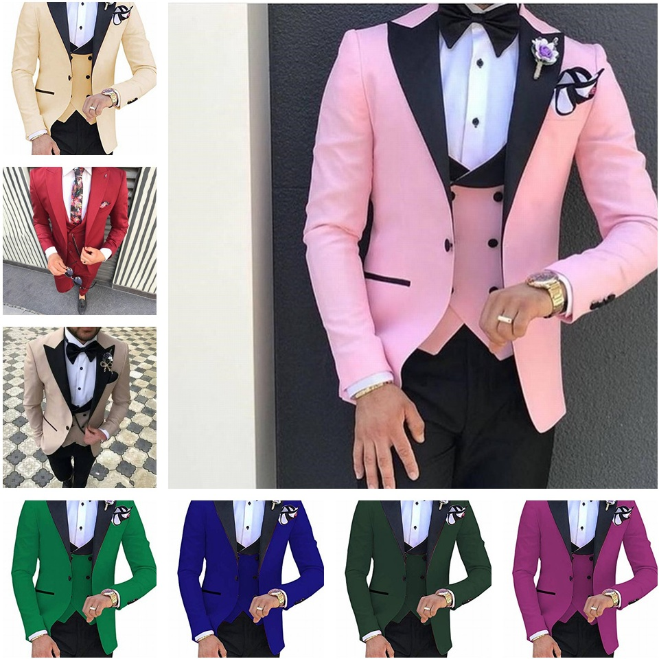Formal Pink Groom Tuxedos Men Suits For Wedding Party Prom Blazers Shawl Lapel Groomsmen Suits Costume Homme(Jacket+Vest+pant)