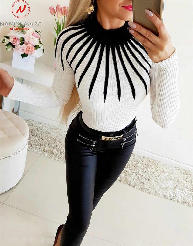 ผู้หญิง Elegant ฤดูใบไม้ร่วงฤดูหนาวเสื้อกันหนาวการจับคู่สี Patchwork ออกแบบคอยาวแขนยาวพิมพ์ Slim Pullovers ถัก TOP