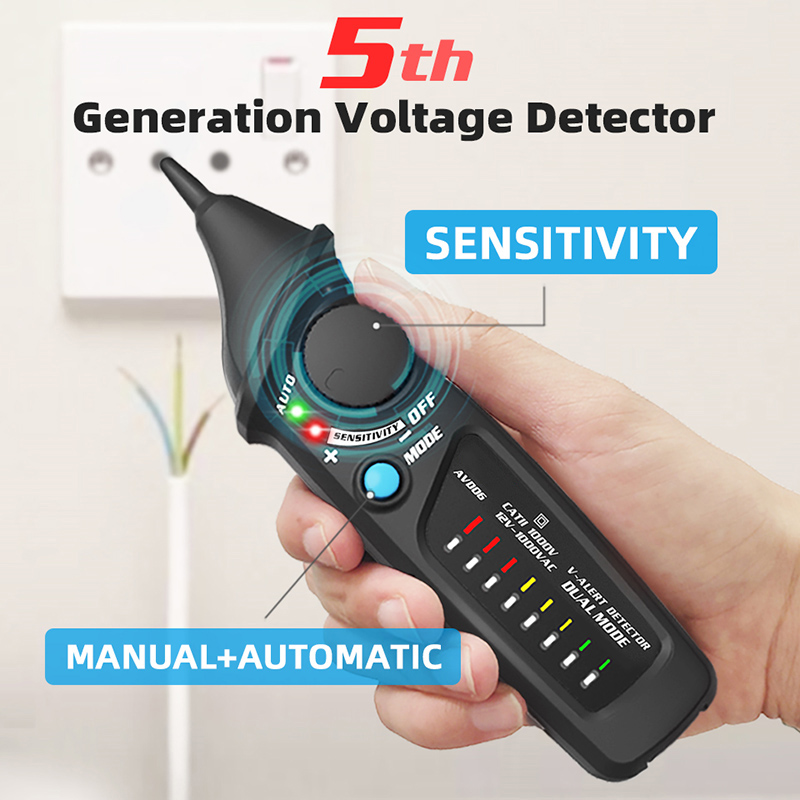 AVD06 Non-contact Voltage Detector AC 12-1000V Auto/Manual NCV Testers Live Wire Check Dual Mode Sensitivity Adjustable
