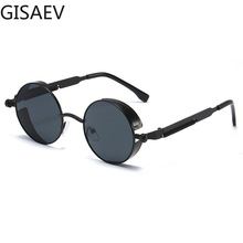 GISAEV Driving Glasses Women Man Steampunk Round Frame Vintage Sunglasses Metal Spring Temples Gold Silver Frame Fashion Glasses metal frame glasses page 6