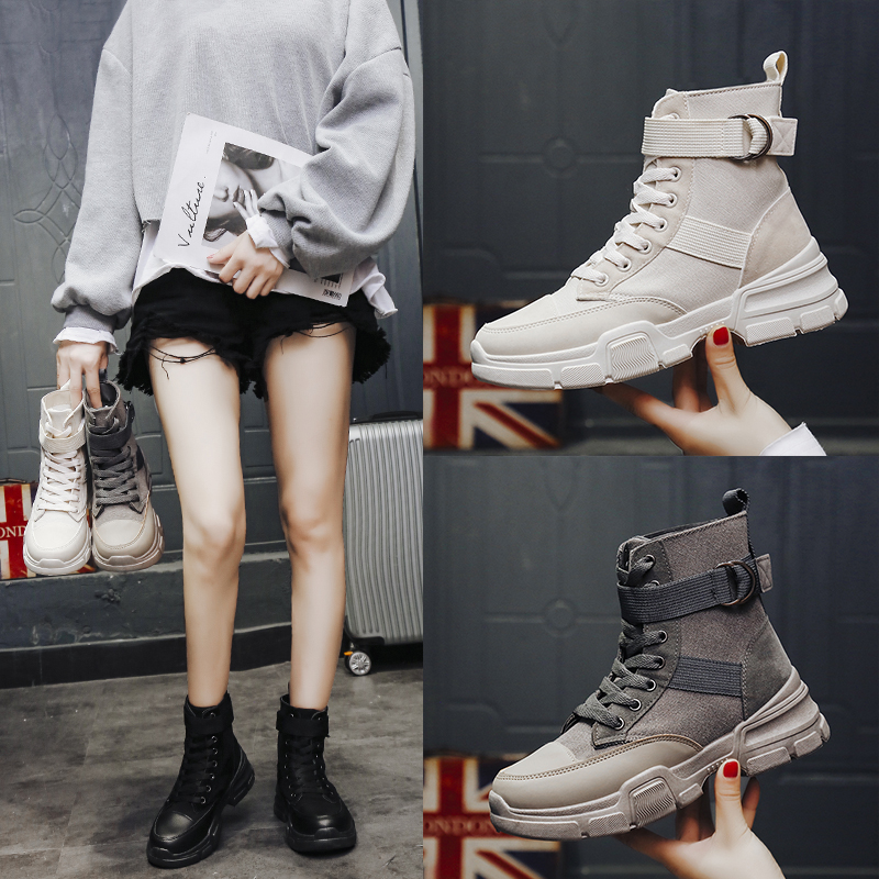 Designer Fashion Luxury Women Shoes Autumn Winter Lace Up Platform Off Sock High Martins Sneakers Top Quality PU Leather Shoes