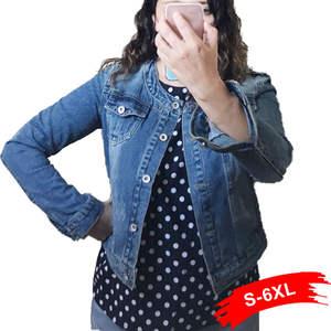 Jeans Jacket Coat Jaqueta Short Light-Blue Bomber Plus-Size Women 5XL 4XL Round Sweet