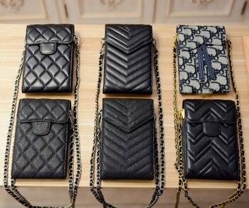 Luxury Brand Genuine Leather Phone Bag Small sized Flap Cowhide Purse Chain Crossbody Phone Case Messenger Handbag Caviar Grain