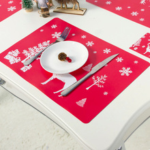 12pcs Christmas Decorations Drinks Coasters Table Cup Mat Coffee Placemat PVC Placemats Creative Printing