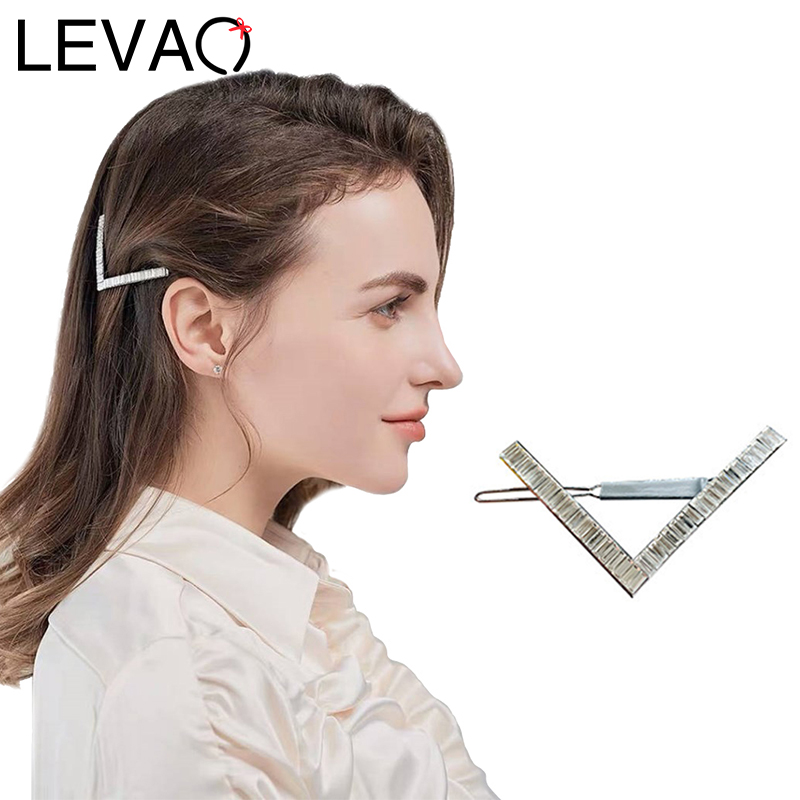 LEVAO Women Triangle Metal BB Clip Horsetail Hair Clips Headwear Hairpins Elegant Headdress Girls Holder Hair Accessories Ladies