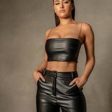 Party-Crop-Top Streetwear Workout Shoulder Women Sleeveless KGFIGU PU for Material Offfer