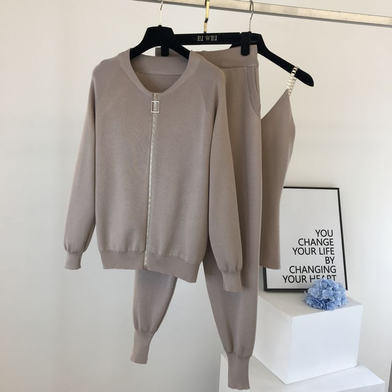 Amolapha Women 2020 Autumn Winter Knitted  Vest Zipper Cardigans Pants 3pcs Sets Tracksuits Outfits 5