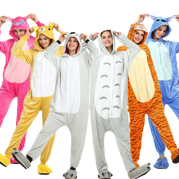 Anime Onesie Women Sleepwear Set Kigurumi Adult Women's pajamas Stitch Panda Unicorn Totoro Cosplay Children Boy Girl pijama