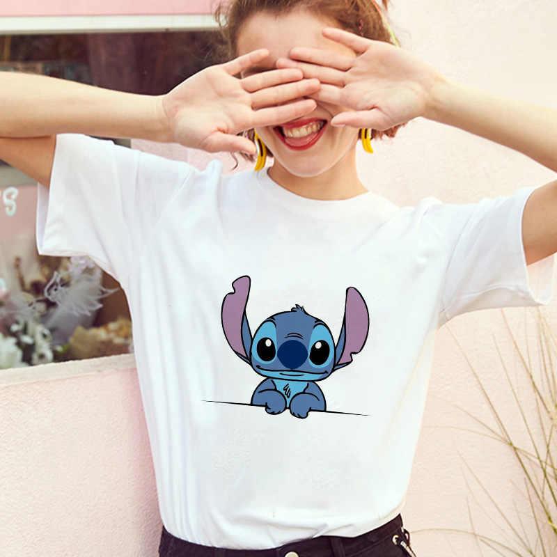 Showtly Lilo Stitch Harajuku Kawaii Delle magliette Delle Donne di Modo T-Shirt Avventura commedia Del Fumetto Bello Femminile Stampato casual Magliette e camicette