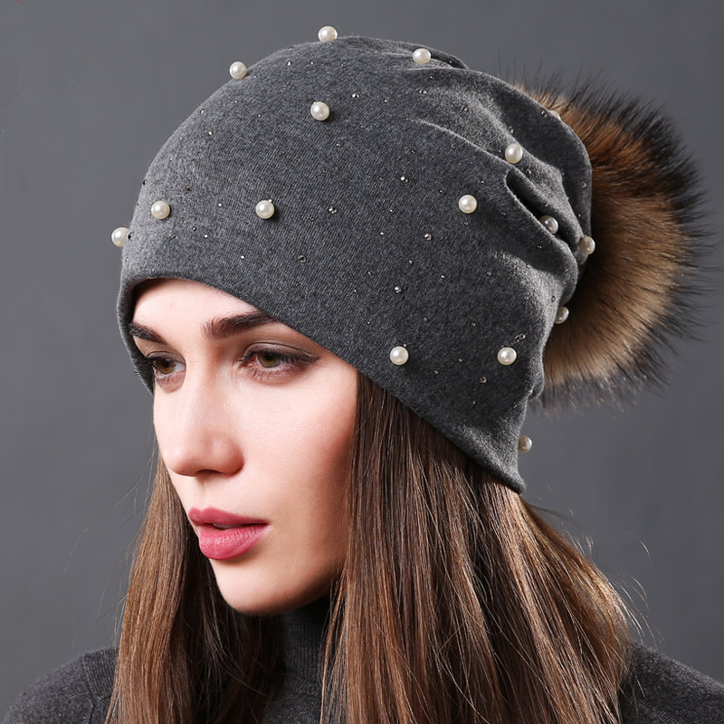 2019 New Women's Pearls Beanies Winter Causal Solid Rhinestone Pearl Slouchy Beanies Hat With Raccoon Fur Pompom Femme Black Cap