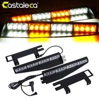 Castaleca 32 LED Police Strobe Warning Lights Amber White 12V 24V High Power Fog Lamp Emergency Flashing Suction Cup Light