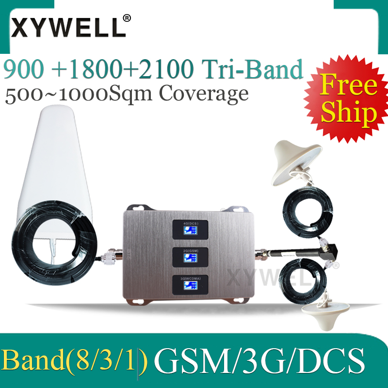 Big Cover Tri Band GSM 900 UMTS 2100 4G 1800 Mobile Signal Booster Two Indoor Antennas Repeater Amplifier Set