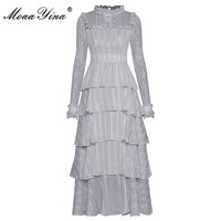 MoaaYina Fashion Runway dress Spring Women Dress Lace Stand collar Mesh Long sleeve Cascading Ruffle Elegant Party Cake Dresses