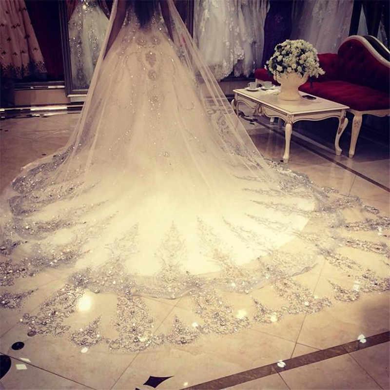 3,5 Meter Weiß Elfenbein Spitze Kristalle Kathedrale Länge Applique Rand Hochzeit Braut Schleier mit Kamm