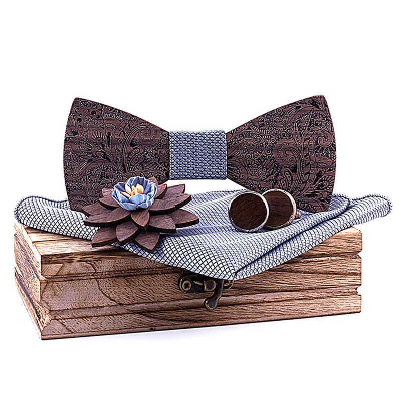Yeni gümüş gri ekose ahşap papyon erkek evlenmek cep kare kol düğmeleri broş setleri hattı çiçek aksesuarları cadeau homme