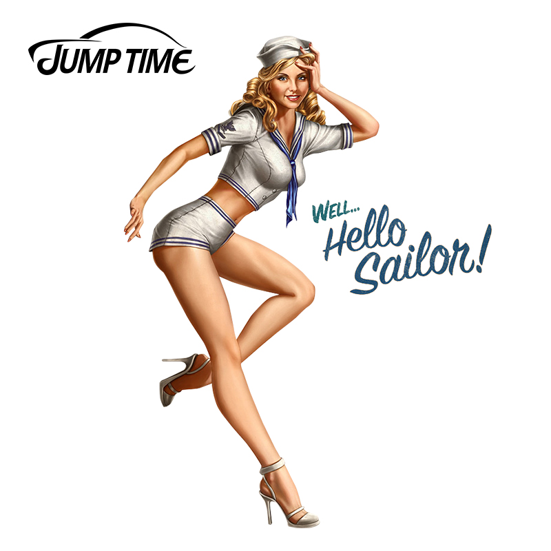 JumpTime 13cm X 9.7cm Car Sticker Sexy Pinup Girl Hello Sailor Window Bumper Decal Motorcycle Car Styling Vintage Graphics