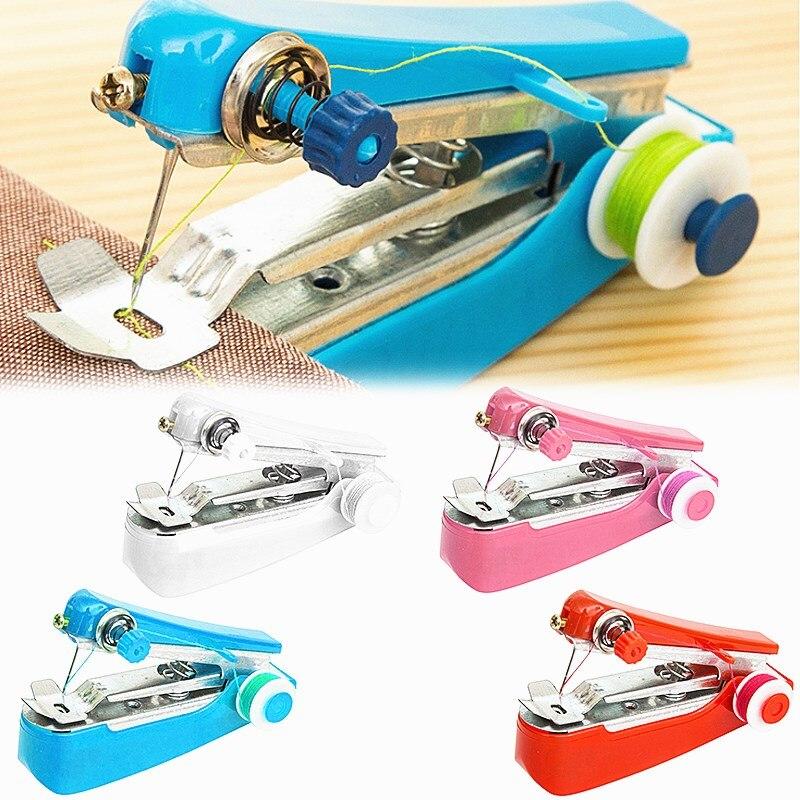 2021 novo portátil mini máquina de costura manual do agregado familiar tecido pano costura útil bordado simples operação ferramentas costura
