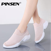 PINSEN Mode Sneakers Vrouwen Zomer Ademend Mesh Flats Casual Schoenen Vrouw Mand Femme Dames Loafers Schoenen zapatillas mujer(China)
