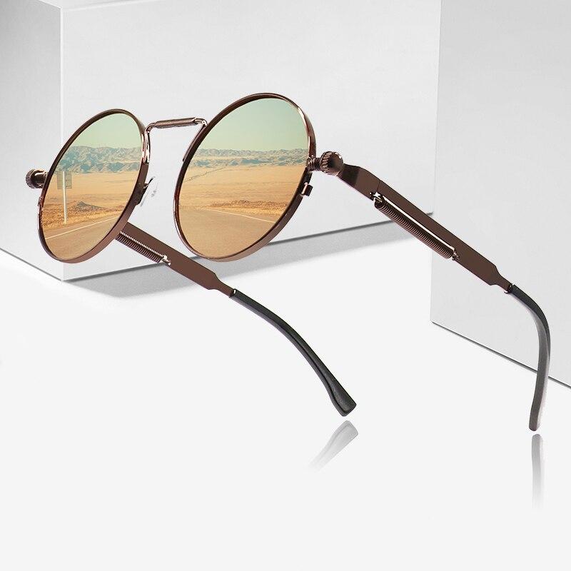 2020 Metal Steampunk Sunglasses Men Women Fashion Round Glasses Brand Design Vintage Sunglasses High Quality UV400 Eyewear|Women