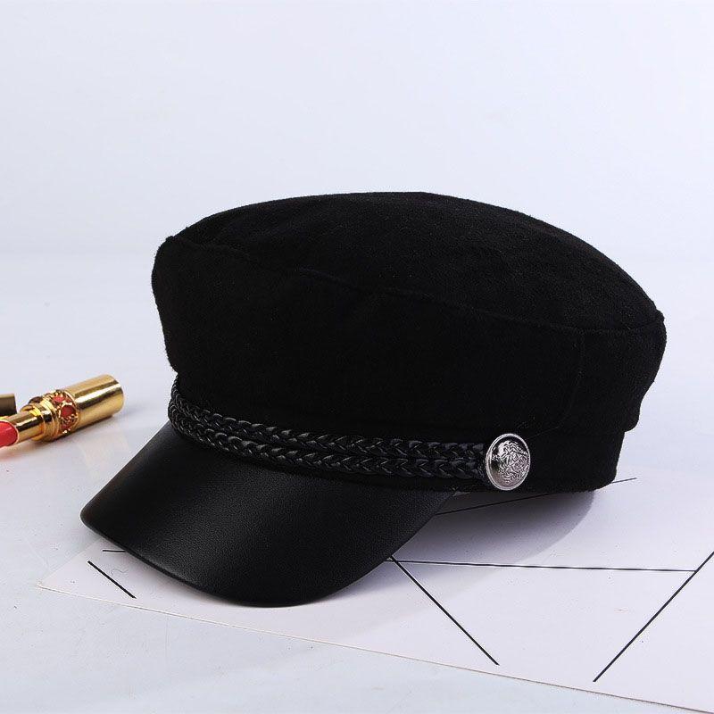 Autumn Winter Hats For Women Solid Plain Black Octagonal Newsboy Cap Men Ladies Casual Wool Hat Winter Beret Women Painter Cap T