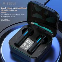 Fone de ouvido sem fio bluetooth 5.0 fones display led com microfone alta fidelidade estéreo esporte fones graves para o telefone inteligente