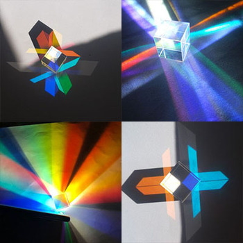Prism Six-Sided Bright Light Combine Cube Prism Stained Glass Beam Splitting Prism Optical Experiment Instrument 1 inch corner cube prism no coating height 19mm high precision bk7 optical glass trihedral retroreflector