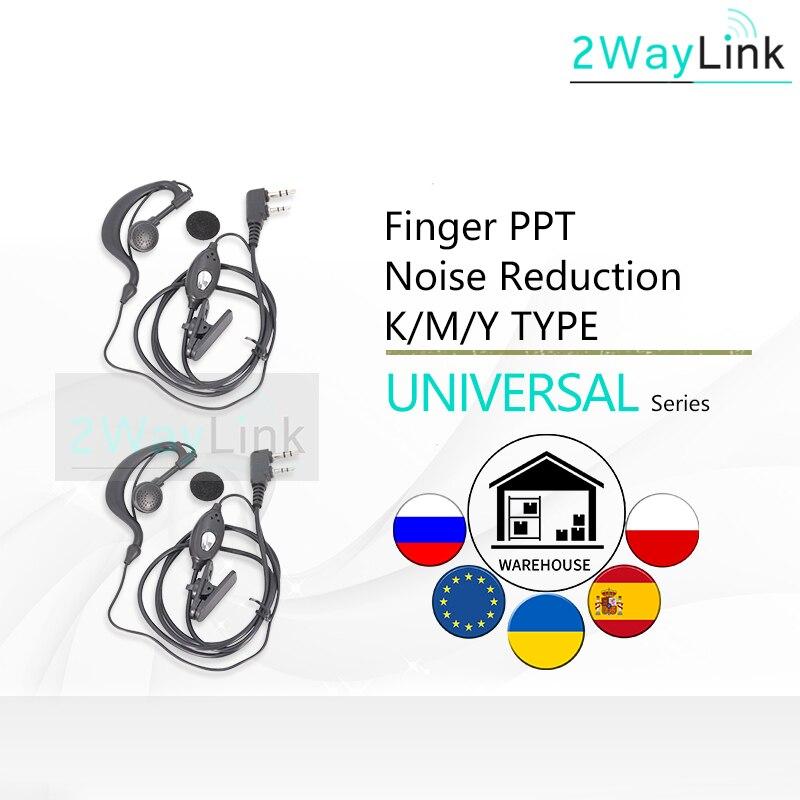 Durável baofeng 2 pçs fone de ouvido universal microfone dedo ptt fone para baofeng UV-5R acessórios UV-5RA UV-5RE presunto cb em dois sentidos rádios