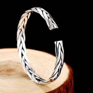 Image 4 - ZABRA pulsera abierta de plata de ley 999 trenzada para amantes, Unisex, joyería Retro para el Día de San Valentín