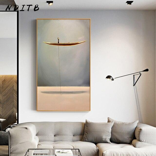Doré bateau moderne abstrait toile peinture minimaliste paysage illustration affiche impression nordique mur Art photo salon décor