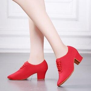 Image 4 - Женские классические туфли для латиноамериканских танцев, красные, черные кроссовки для современных танцев, обувь для джаза, бальных танцев, обувь для тренировок на каблуке 5 см