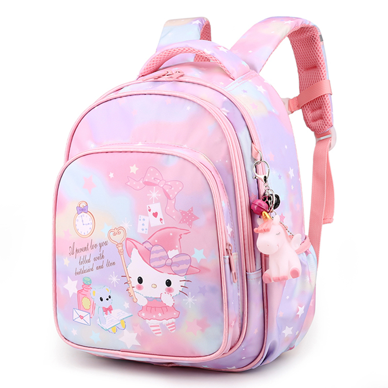 Kawaii Cat Print Kids School Backpack Cute Cat Pattern Primary School Bags for Girls Waterproof Bag Kids Book Satchel Age 6-9-12