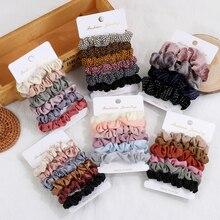4/6 unids/set de seda de terciopelo Vintage Scrunchies bandas elásticas para el pelo todo partido coleta titular de las cuerdas de pelo de las mujeres accesorios de moda para el cabello