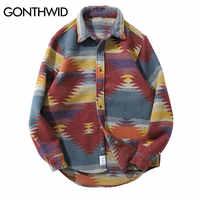 GONTHWID-camisetas de manga larga con botones a presión para hombre, ropa de calle informal, chaquetas de camisa, ropa Hipster