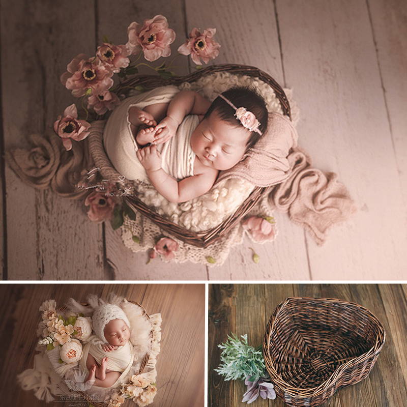 New Newborn Props For Photography Heart Shaped Rattan Nest Box Baby Photography Props Posing Sofa Bebes Accesorios Recien Nacido