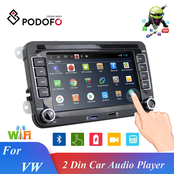 Podofo 2 Din Android 7 Car Autoradio Radio Car Multimedia player GPS Navigation Bluetooth TWO USB PORT FM For VW Skoda Golf image